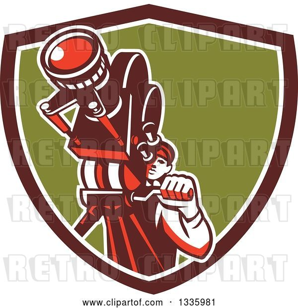 Vector Clip Art of Retro Male Cameraman Filming in a Maroon White and Green Shield