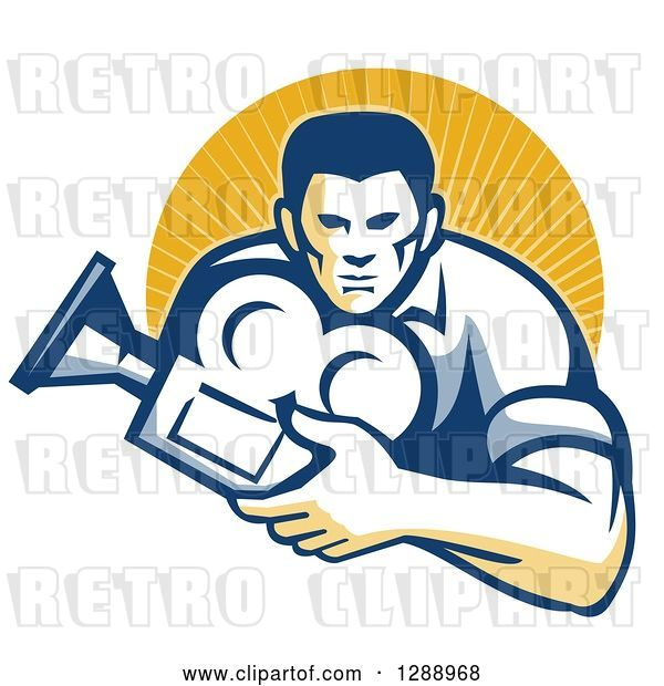 Vector Clip Art of Retro Male Cameraman Holding a Camera and Emerging from a Circle of Sunshine
