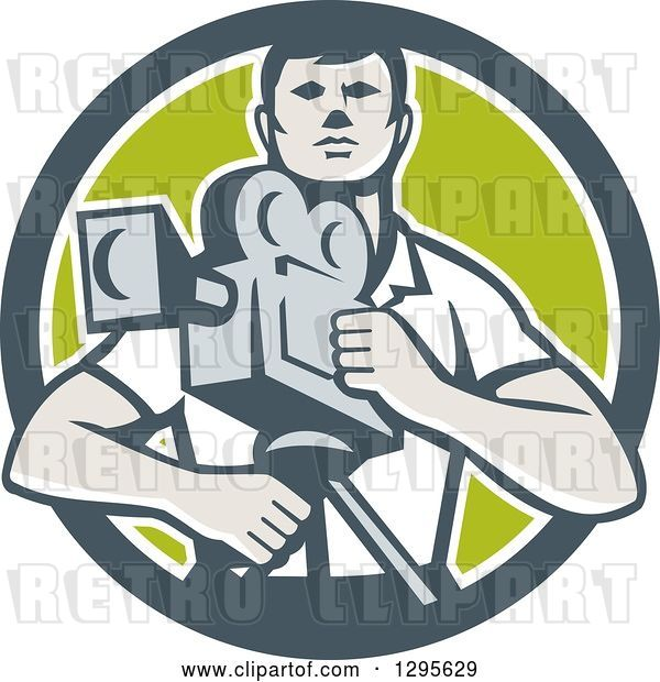 Vector Clip Art of Retro Male Cameraman in a Gray White and Green Circle
