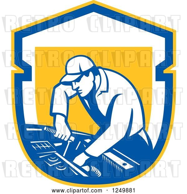 Vector Clip Art of Retro Male Car Mechanic Working on an Automobile in a Shield