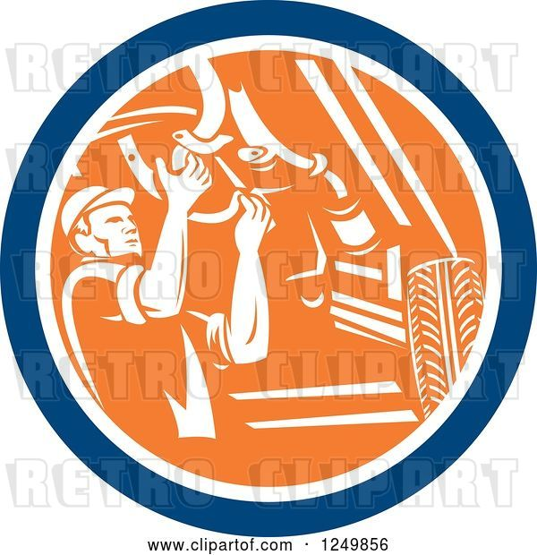 Vector Clip Art of Retro Male Car Mechanic Working Under an Automobile in a Circle
