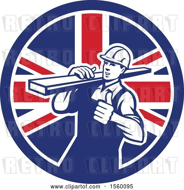 Vector Clip Art of Retro Male Carpenter Carrying Lumber and Giving a Thumb up in a Union Jack Flag Circle