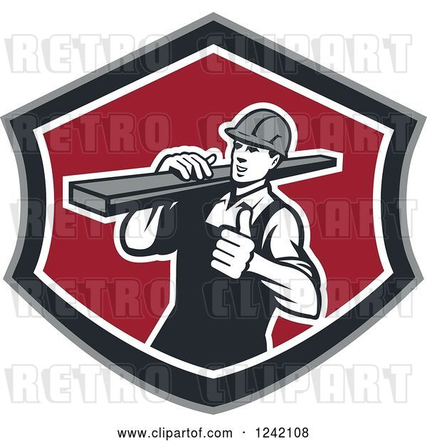 Vector Clip Art of Retro Male Carpenter Carrying Lumber in a Shield