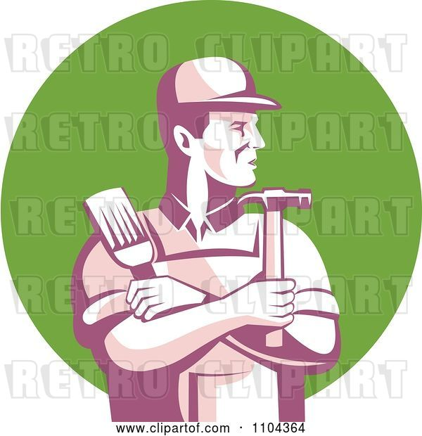 Vector Clip Art of Retro Male Carpenter Holding a Brush and Hammer over a Green Circle
