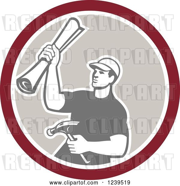 Vector Clip Art of Retro Male Carpenter Holding up Blueprints and a Hammer in a Circle
