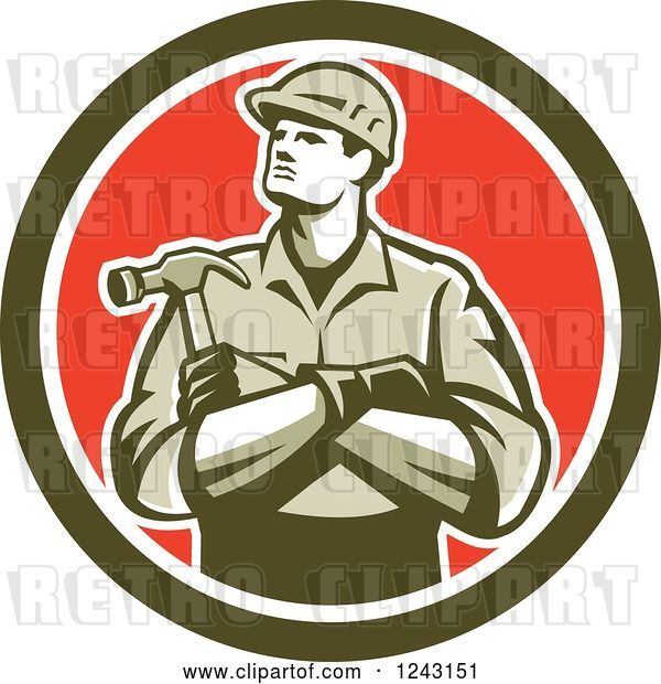 Vector Clip Art of Retro Male Carpenter with Folded Arms and a Hammer in a Circle