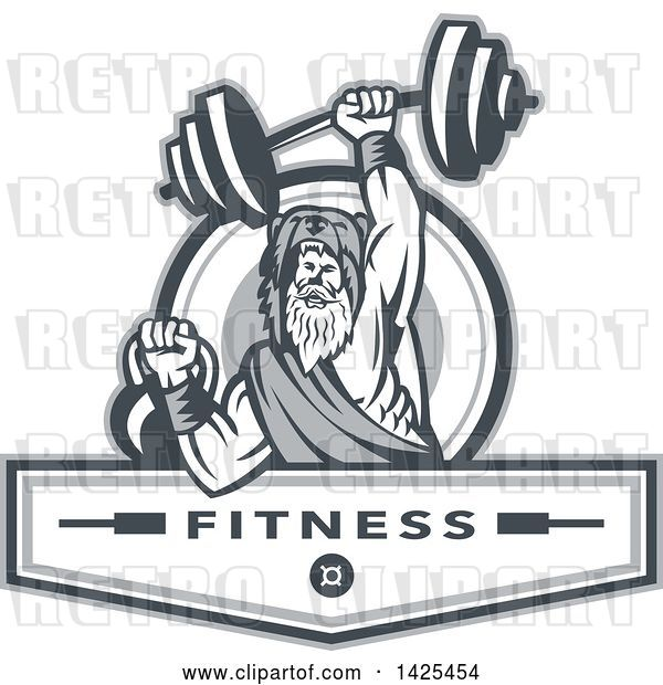 Vector Clip Art of Retro Male Champion Norse Warrior, Berserker, Wearing a Pelt of Bear Skin, Lifting a Barbell and Kettlebell, Emerging from a Circle over Fitness Next