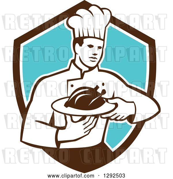 Vector Clip Art of Retro Male Chef Carrying a Roasted Chicken on a Platter in a Brown White and Blue Shield