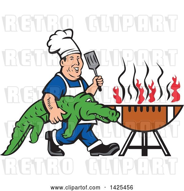 Vector Clip Art of Retro Male Chef Carrying an Alligator and Spatula to a Football Grill