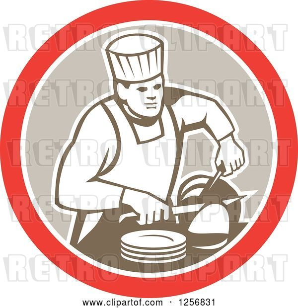 Vector Clip Art of Retro Male Chef Carving Meat in a Red White and Tan Circle