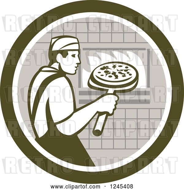 Vector Clip Art of Retro Male Chef Inserting a Pizza and Peel in a Brick Oven