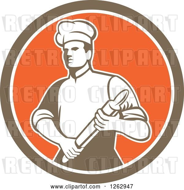 Vector Clip Art of Retro Male Chef or Baker Holding a Rolling Pin in a Brown White and Orange Circle