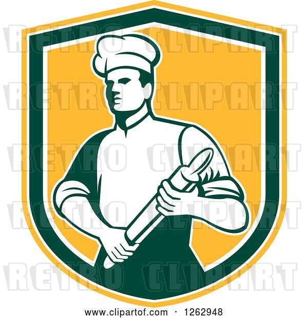 Vector Clip Art of Retro Male Chef or Baker Holding a Rolling Pin in a Yellow White and Green Shield