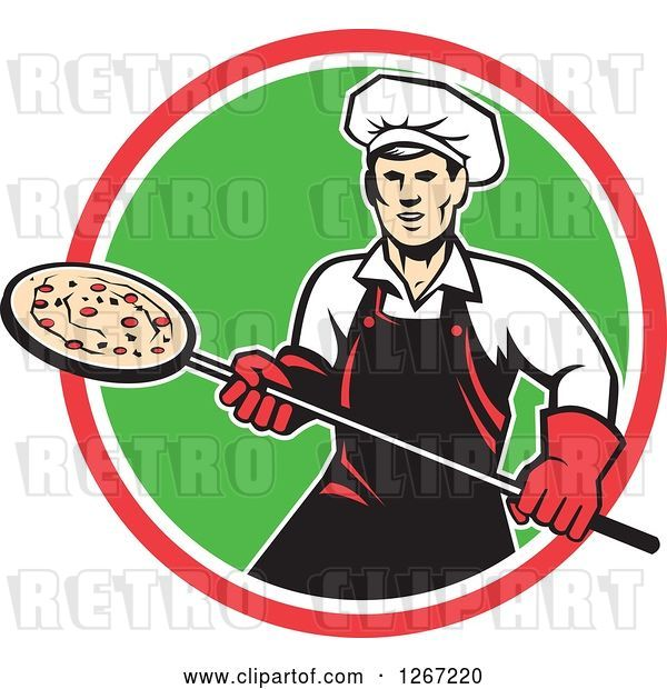 Vector Clip Art of Retro Male Chef with a Pizza on a Peel in a Red White and Green Circle