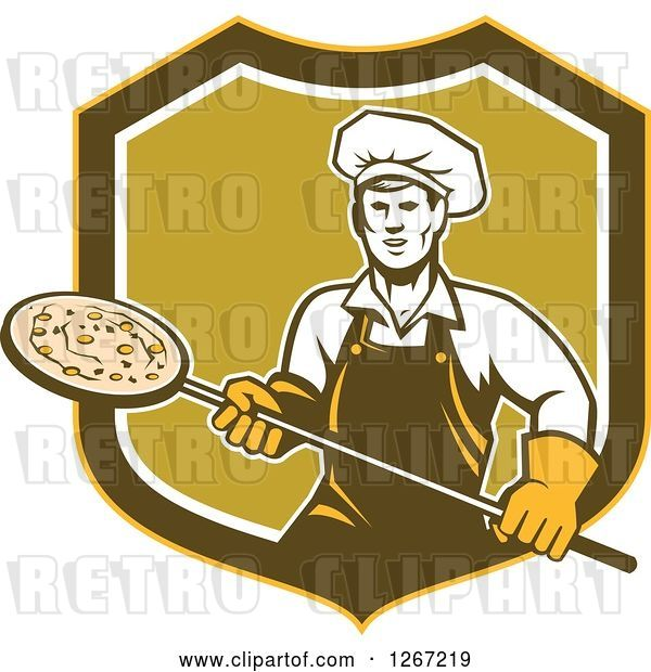 Vector Clip Art of Retro Male Chef with a Pizza on a Peel in a Yellow Brown White and Green Shield