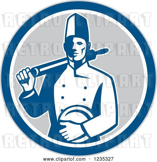 Vector Clip Art of Retro Male Chef with a Plate and Rolling Pin in a Gray White and Blue Circle