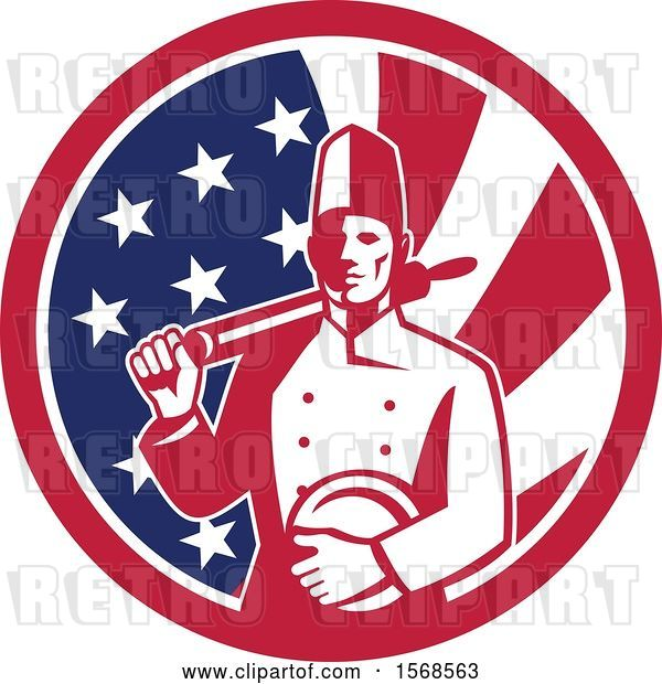 Vector Clip Art of Retro Male Chef with a Plate and Rolling Pin in an American Flag Circle