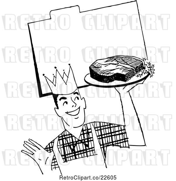 Vector Clip Art of Retro Male Chef with Steak over a Recipe Card