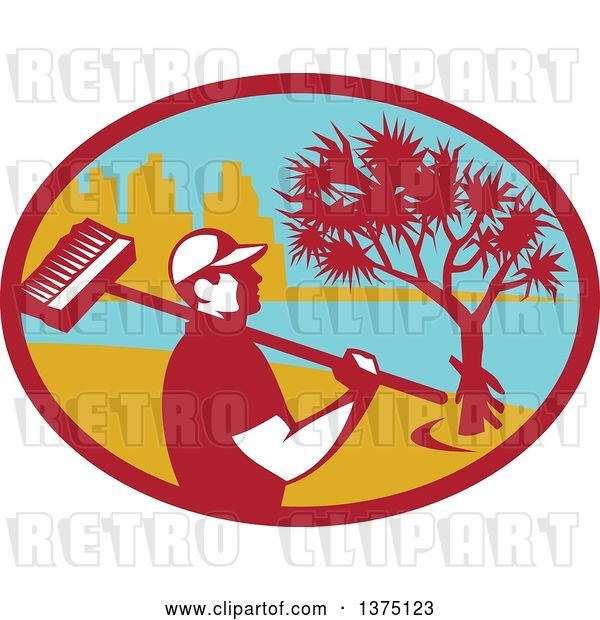 Vector Clip Art of Retro Male Cleaner Holding a Broom over His Shoulder, Inside an Oval with a Pandanus Tree and Coast