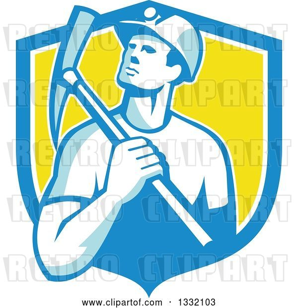 Vector Clip Art of Retro Male Coal Miner Holding a Pickaxe in a Blue White and Yellow Shield