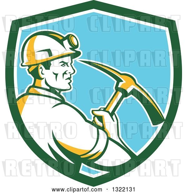 Vector Clip Art of Retro Male Coal Miner Holding a Pickaxe in a Green White and Blue Shield