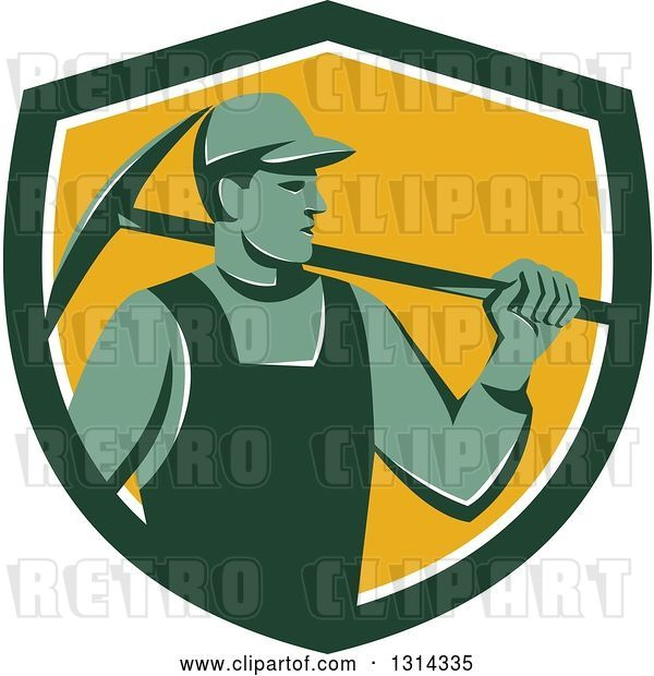 Vector Clip Art of Retro Male Coal Miner Holding a Pickaxe in a Green White and Yellow Shield
