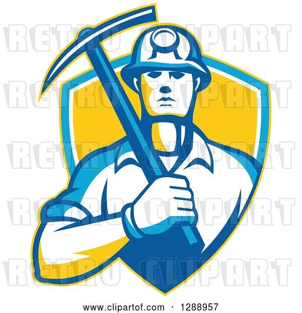 Vector Clip Art of Retro Male Coal Miner Holding a Pickaxe in a Yellow Blue and White Shield