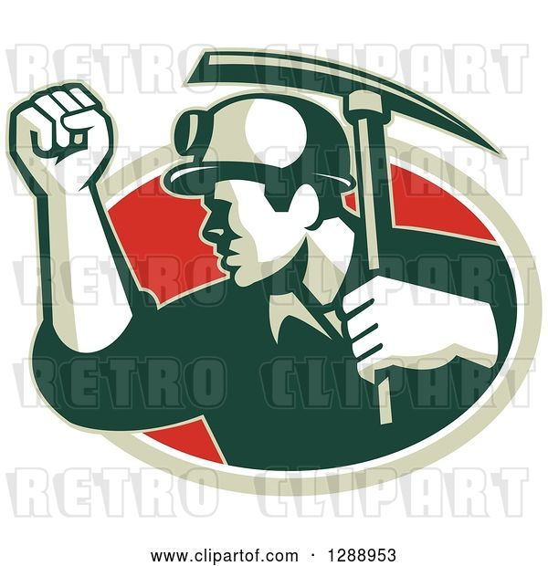 Vector Clip Art of Retro Male Coal Miner Holding up a Fist and a Pickaxe in a Green White and Red Oval
