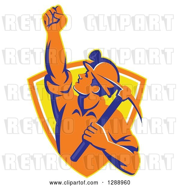 Vector Clip Art of Retro Male Coal Miner Holding up a Fist and a Pickaxe in a Yellow and Orange Shield