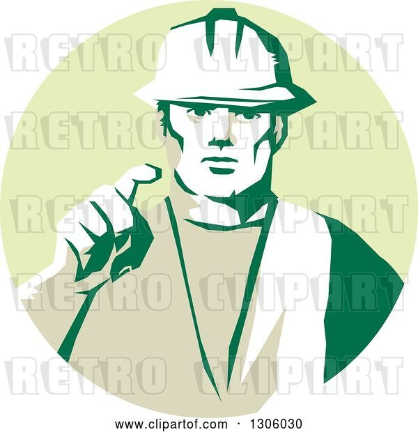 Vector Clip Art of Retro Male Construction Worker Builder Pointing Outwards in a Pastel Green Circle