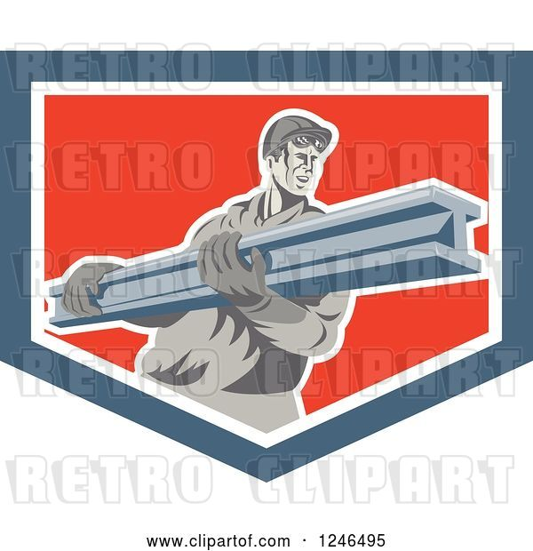 Vector Clip Art of Retro Male Construction Worker Carrying a Beam in a Shield