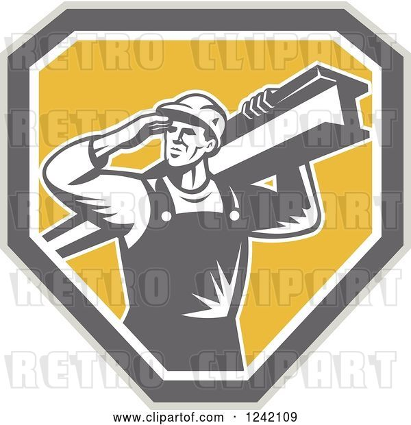 Vector Clip Art of Retro Male Construction Worker Carrying a Beam over a Shield