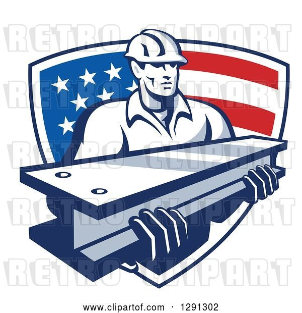 Vector Clip Art of Retro Male Construction Worker Carrying an I Beam and Emerging from an American Flag Shield
