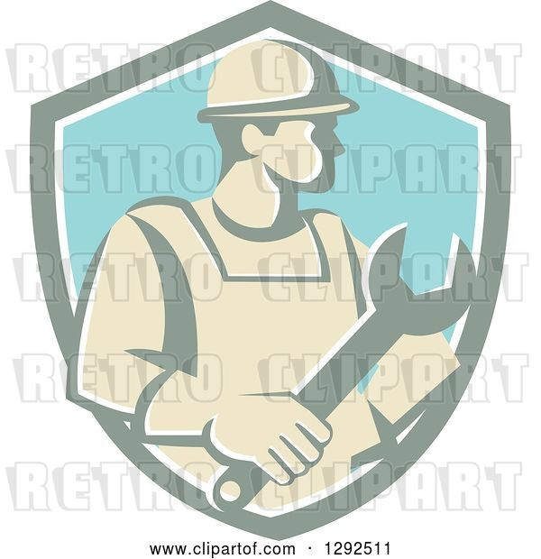 Vector Clip Art of Retro Male Construction Worker Holding a Giant Wrench in a Pastel Shield