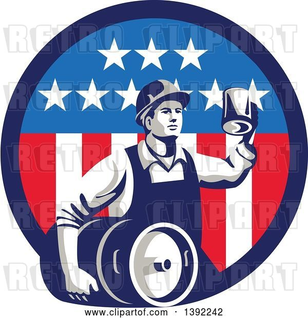 Vector Clip Art of Retro Male Construction Worker Toasting and Carrying a Beer Keg in an American Circle
