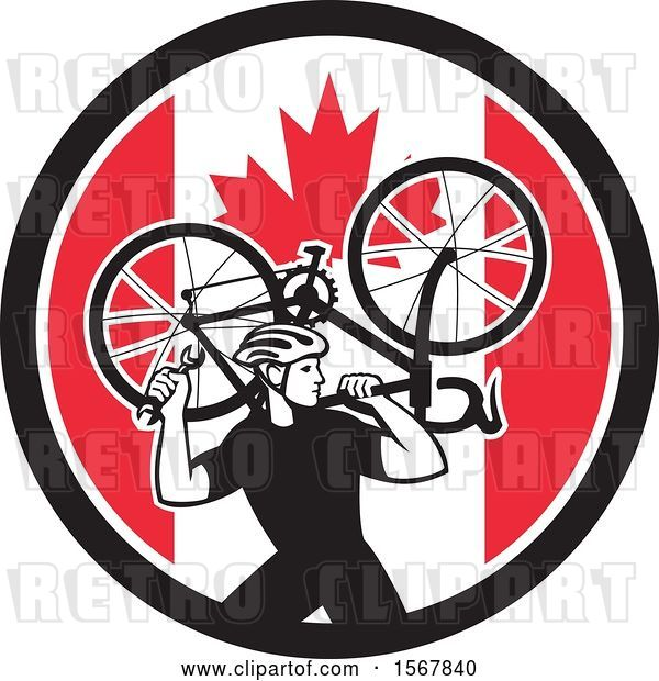 Vector Clip Art of Retro Male Cyclist Carrying a Bicycle on His Back in a Canadian Flag Circle