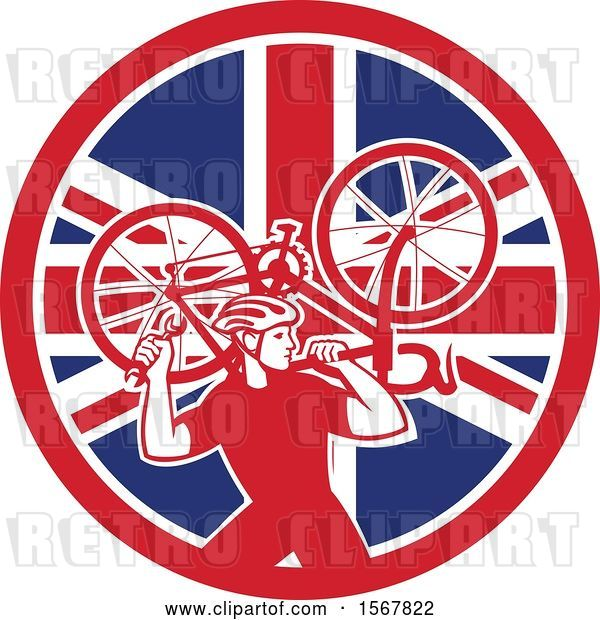 Vector Clip Art of Retro Male Cyclist Carrying a Bicycle on His Back in a Union Jack Flag Circle