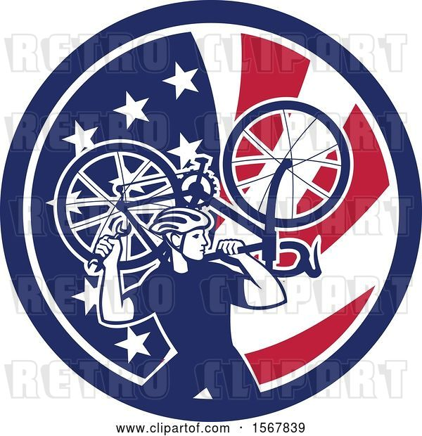 Vector Clip Art of Retro Male Cyclist Carrying a Bicycle on His Back in an American Flag Circle