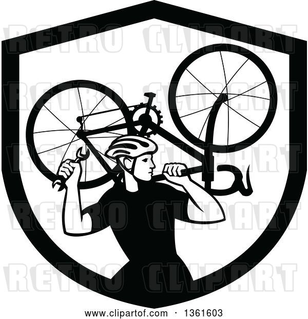 Vector Clip Art of Retro Male Cyclist Carrying a Bicycle on His Back Inside a Shield