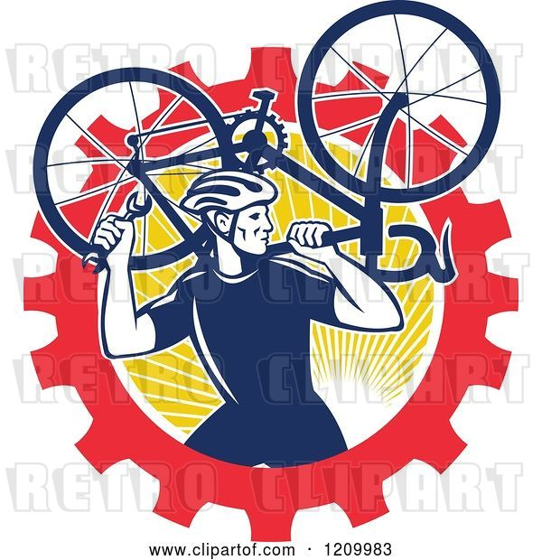 Vector Clip Art of Retro Male Cyclist Carrying a Bicycle over a Gear and Sun Circle