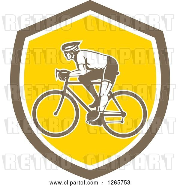 Vector Clip Art of Retro Male Cyclist in a Brown White and Yellow Shield