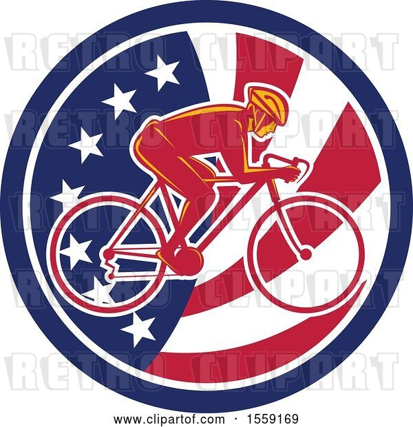 Vector Clip Art of Retro Male Cyclist in an American Flag Circle
