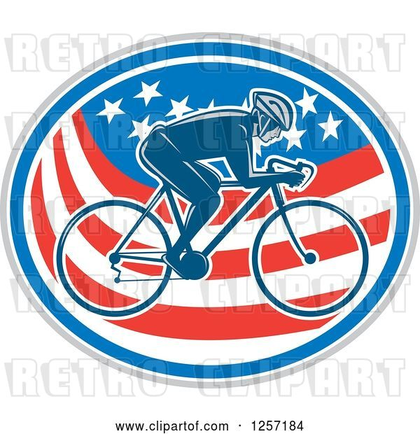 Vector Clip Art of Retro Male Cyclist in an American Flag Oval