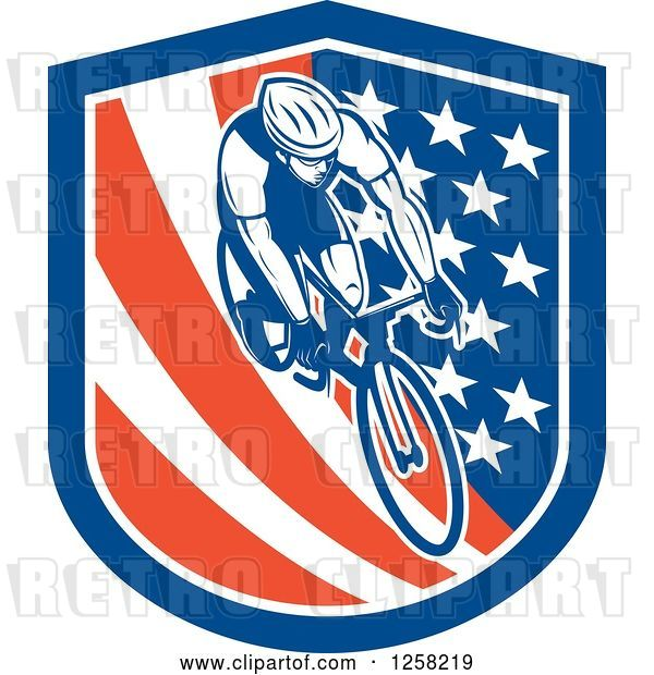 Vector Clip Art of Retro Male Cyclist in an American Flag Shield
