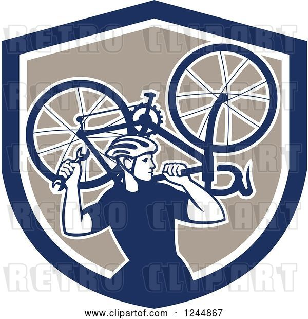 Vector Clip Art of Retro Male Cyclist Repair Guy Holdig up a Bike in a Shield