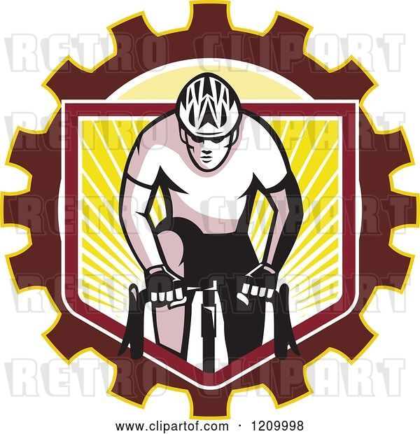 Vector Clip Art of Retro Male Cyclist Riding over a Gear Shield of Rays