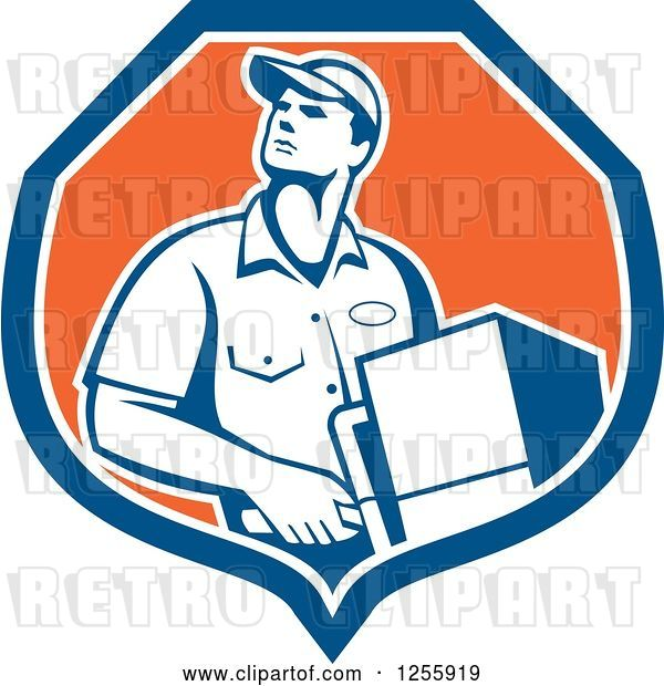 Vector Clip Art of Retro Male Delivery Guy Delivering in a Shield