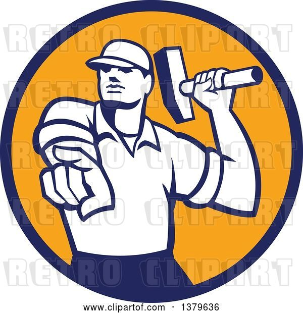 Vector Clip Art of Retro Male Demolition Worker Holding a Sledgehammer and Pointing in a Blue and Orange Circle