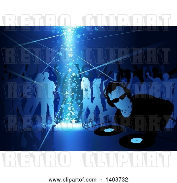 Vector Clip Art of Retro Male Dj and Silhouetted Dancers in Blue Tones, with Stars Shining down