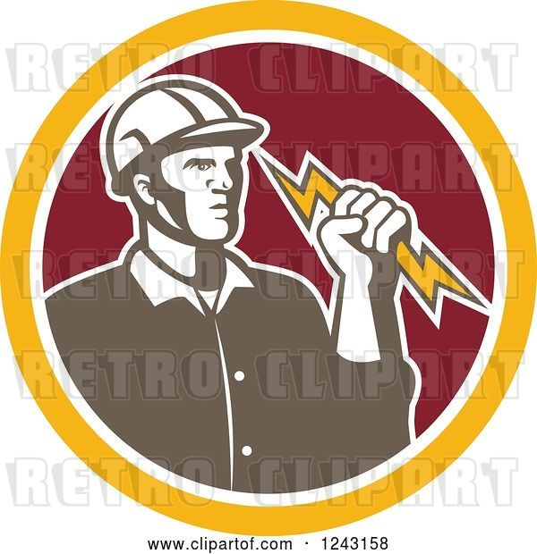 Vector Clip Art of Retro Male Electrician Holding a Bolt in a Red and Yellow Circle